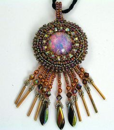 Fire Opal Bead Embroidery Pendant SALE 50.00 Was by 4uidzne, $50.00