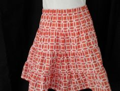 Size 8 - tiered skirt in coral and white pattern