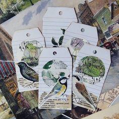 handmade tags #handmade #journaling #snailmail #cutouts #birds #botanicalgarden #artsandcrafts #vintage