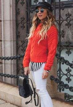 Red H&M sweater, whi