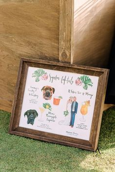 Want to incorporate your pet or pets in your wedding but cant actually bring them to the wedding? You need this custom drawn signature pet cocktail sign! Upgrade it with a portrait of the two of the bride and groom! Luau Wedding, Dog Wedding, Wedding Catering, Wedding Signs, Wedding Parties, Dream Wedding, Fantasy Wedding, Wedding Ideas, Wedding Bells