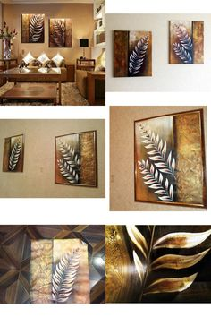 [Visit to Buy] handmade 2 piece golden modern contemporary abstract oil painting on canvas wall art leaf pictures for living room home LE-010 #Advertisement