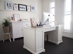 Home Office Reveal | KIrsten and co's hamptons inspired home office reveal featuring LIATORP desk from IKEA | kirstenandco.com