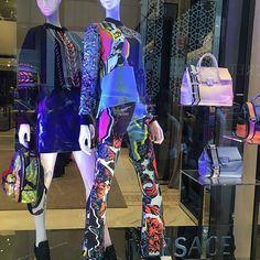 Psychedelic brights @ Versace #storewindows #merchandising #vm #vmlife #visualmerchandising #womensfashion #retaildesign Pic courtsey of @nys2s2