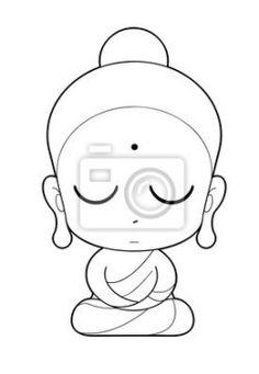 """Vinilos """"dibujando, artwork, antigüedad - monje budista de dibujos animados"""" ✓ Amplia selección de los materiales ✓ Ajustaremos el producto a tu medida ✓ ¡Comprueba las opiniones de nuestros clientes! Buddha Drawing, Buddha Painting, Buddha Art, Bottle Painting, Bottle Art, Bottle Crafts, Outline Drawings, Easy Drawings, Mandala Design"""