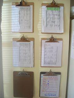 Using clipboards for chores, schedules, menus, etc (LOVE THIS IDEA!)