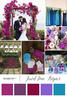 Jewel Tone Tropics this is a pretty combo, maybe take out the pink and add gold or silver Jewel Tone Wedding, Purple Wedding, Fall Wedding, Our Wedding, Dream Wedding, Wedding Color Schemes, Wedding Colors, Wedding Flowers, Wedding Themes