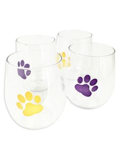 Tiger Paw Stackable Shatterproof Wine Glasses, great for tailgating and gameday parties! Reusable & recyclable. https://www.fleurtygirl.net/tiger-paw-stackable-shatterproof-wine-glasses.html