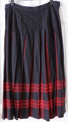 Vintage PENDLETON 100% Wool Black Red Menzies TARTAN Plaid Pleated Skirt Long 14 #Pendleton #Pleated