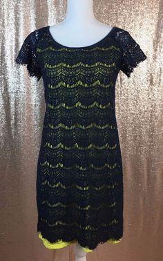 Max Studio Stretchy Lime Lined Navy Lace Short Sleeve Dress Medium  | eBay