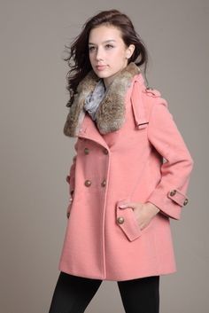 Warm Coat Loose  winter  caroset  Coat  double-breasted coat  ---Pink. $79.00, via Etsy.