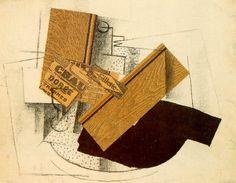 """Natureza-morta sobre uma mesa: """"Gillette"""" (1914). Georges Braque. carvão, papel colado e guache. 48cm x 62cm. Museu Nacional de Arte Moderna, Centro Pompidou, Paris, França. Livro: Farthing, Stephen. Esta é arte. Londres: Quintessence, 2010."""