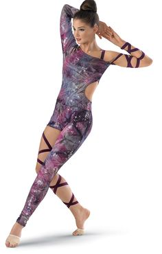 Gorgeous asymmetrical glitter tie-dye unitard features one long sleeve and a side cut out.