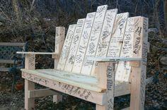 Guest Book Alternative Sign In Wooden Garden Bench....= Genius!