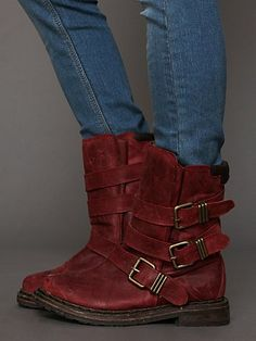 Jeffery Campbell Lee Boot in Burgundy Distressed @ Free People