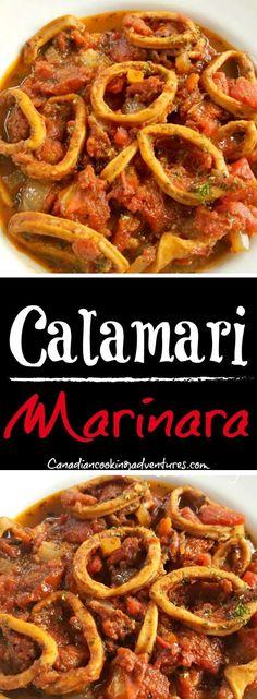 Calamari Marinara #calamari #marinara #italian #recipe #italy #squid #pasta