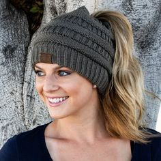It seems as though, all of a sudden, these adorable beanies are everywhere you look and we are loving the look of these messy-hair don't care knit hats! They are absolutely perfect for the pony-tail lovers of the world! The Soft Knit Ponytail Beanie has a Crochet Beanie, Knitted Hats, Crochet Hats, Knit Slouchy Hat Pattern, Ponytail Beanie, Beanie Hats, Messed Up Hair, Wearing A Hat, Messy Hairstyles