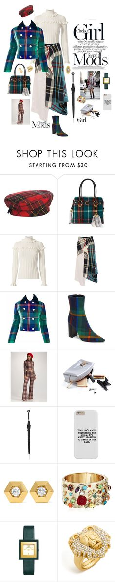 """""""Tartan girl"""" by mbarbosa ❤ liked on Polyvore featuring Eric Javits, Miu Miu, Cinq à Sept, J.W. Anderson, Ralph Lauren, Jeffrey Campbell, Pasotti Ombrelli, Fred Leighton, Betsey Johnson and Tory Burch"""
