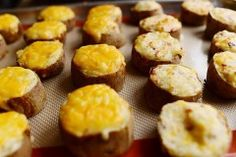 """Slice Baked"" - Twice Baked Potato Slices by Ree Drummond / The Pioneer Woman Twice Baked Potatoes, Sliced Potatoes, Stuffed Potatoes, Russet Potatoes, Mashed Potatoes, Cheesy Potatoes, Baked Potato Slices, Brunch, Ree Drummond"
