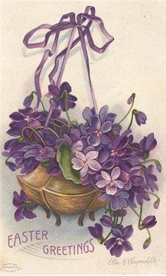 Vintage Easter card with violets