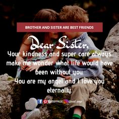 You're my angel Love My Brother Quotes, Brother And Sister Relationship, Sister Poems, Sister Quotes Funny, Brother And Sister Love, Dear Sister, Sibling Quotes, Family Quotes, Cute Relationship Quotes