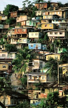 "Brazil--in Rio De Janeiro, there is a saying, that ""The Poor live high, and the Rich live low.""  This, because the monsoon rains wash the houses of the mountainous favelas off the mountainsides, while the rich remain safely dry in their homes on the flatland of the city."