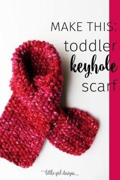 Here Is A Toddler Keyhole Scarf Knitting Pattern That Is * hier ist ein kleinkind keyhole schal strickmuster, das ist * voici un modèle de tricot écharpe trou de serrure pour tout-petit qui est Loom Knitting For Beginners, Easy Knitting, Knitting Scarves, Finger Knitting, Knitting For Kids, Knitting Projects, Crochet Toddler, Crochet For Kids, Toddler Scarf Crochet Pattern
