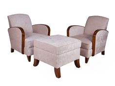 Pair of Art Deco Salon Chairs with Large Stool. British c.1930