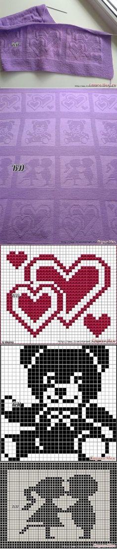 Baby Knitting Patterns Needles Children& blanket with shade jacquard Crochet Heart Blanket, Baby Afghan Crochet, Blanket Yarn, Knitted Baby Blankets, Crochet Squares, Baby Knitting Patterns, Knitting Charts, Knitting Stitches, Baby Patterns