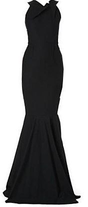 Folded-Neckline Fishtail Gown