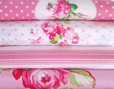 Shabby Chic Pink Floral Fat Quarter Bundle-fabric, fat quarter, bundle, floral, lecien, flower, sugar, sewing, crafts, supplies, stripes, pink, green, yellow, seam binding, satin rose