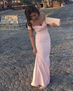 Chic Baby Pink V-neck Mermaid Satin Prom Dresses 2018 Long Formal Evening Gowns