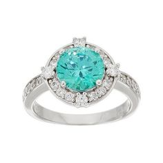Diamonique Simulated Apatite Halo Ring, Sterling (€56) ❤ liked on Polyvore featuring jewelry, rings, holiday jewelry, special occasion jewelry, diamonique, imitation rings y artificial jewellery