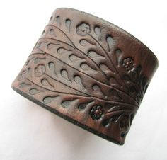 Wide Brown Leather Cuff Bracelet - Floral Vine by aosLeather on Etsy