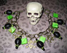 Jewelry Bracelet Charm Skulls Bones Gothic Punk Emo Scene Toxic Psychobilly OOAK Vintage Style Statement Piece Jewelry via Etsy