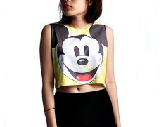 Mickey mouse Crop Top Tank Shirt Cropped Tops S M by WhatTheShirts, $11.11