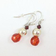 Red Silver Earrings, Dangly Earrings, Sparkly Earrings, Crzystal Earrings, StrandzJewelry by StrandzJewelry on Etsy Dangly Earrings, Silver Earrings, Pearl Earrings, Drop Earrings, Turquoise, Trending Outfits, Unique Jewelry, Handmade Gifts, Red