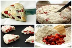 This is my favorite scone recipe. Instead of strawberry I made 3 kinds: chocolate chip, blueberry, and a savory (cheddar cheese rosemary).