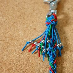 Wallet cord, 12 strand square braid, Double crown knot, 1mm shock cord/ショックコード,ウォレットコード,作り方,8本角編み,ダブルクラウンノット