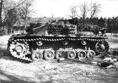 B&W Photo German Stug III  Destroyed Berlin  WWII WW2