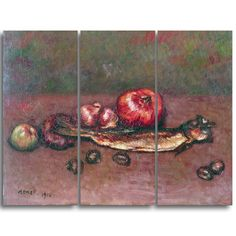 Design Art 'Isidre Nonell - Still Life with Onions and Herring' Art Print - 36Wx32H Inches - 3 Panels