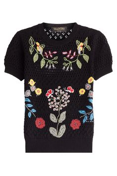 Valentino   Open Knit Top With Floral Applique - Black   Lyst