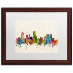 Wellington New Zealand Skyline by Michael Tompsett Framed Graphic Art