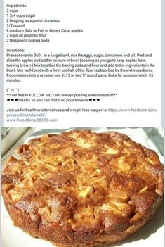 One Bowl Apple Cake. One Bowl Apple Cake. One Bowl Apple Cake. One Bowl Apple Cake. This is delicious! I used a 9 x 13 pan and cooked for 5 minutes less than the recipe called for. Tweak for THM / Low Carb Köstliche Desserts, Delicious Desserts, Yummy Food, Easy Apple Desserts, Apple Recipes Easy Quick, Apple Deserts, Passover Desserts, German Desserts, Apple Cake Recipes