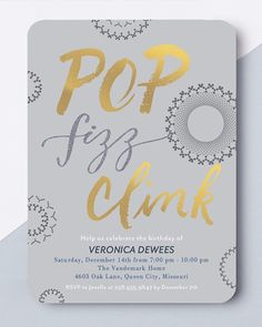 Pop the champagne! Celebrate their birthday with personalized invitations from Tiny Prints.