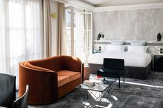 The legendary Les Bains, a former Century bathhouse turned nightclub, is reborn into a hybrid hotel dripping with soulful decadence. Hotel Les Bains Paris, Living Room Sets, Living Room Furniture, Oranges Sofa, Paris Rooms, Paris Bedroom, Bedroom Sofa, Master Bedroom, Bedroom Decor