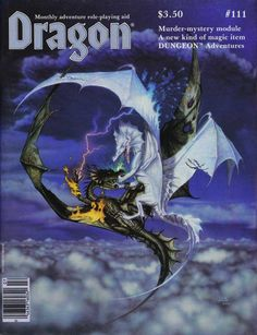 "High above the clouds ""The Conflict"" rages. (Denis Beauvais, Dragon No 111, TSR, July 1986.) See also ""The Antagonists"" from the same year."