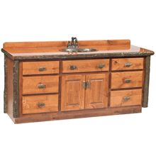 Our rustic handcrafted Hickory Log Vanity is available in 4 sizes.