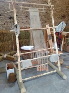 In Stitches Daily: Warp-weighted loom and flax processing