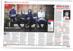 Q double page spread. The Maccabees. My Magazine, Magazine Design, Magazine Layouts, Feature Article, Music Magazines, My Rock, Journalism, Album, Teaching